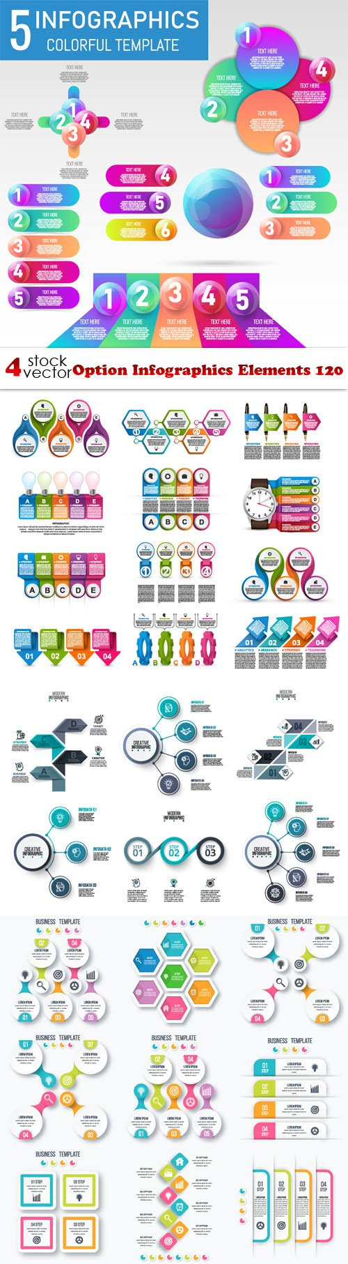 Vectors - Option Infographics Elements 120
