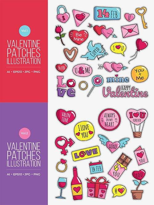 Cute Happy Valentine Patches