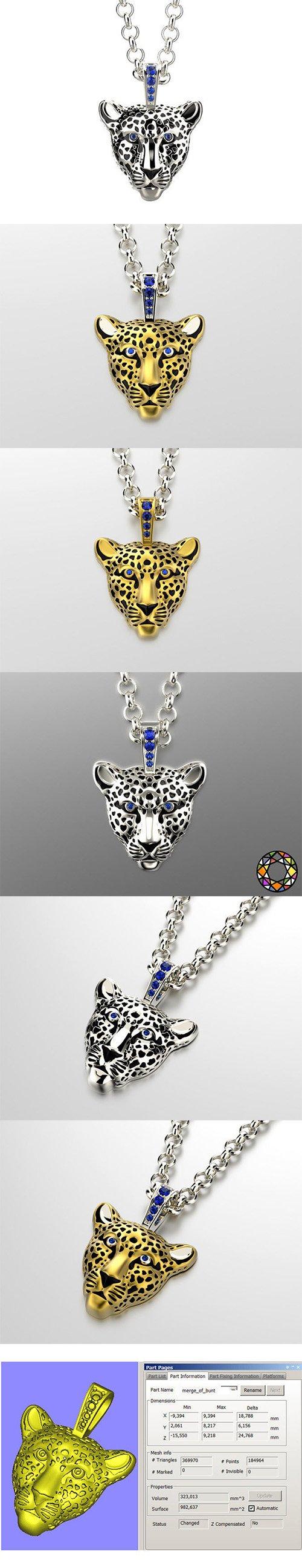 Light leopard pendant with enamel 0076 v3 3D print model