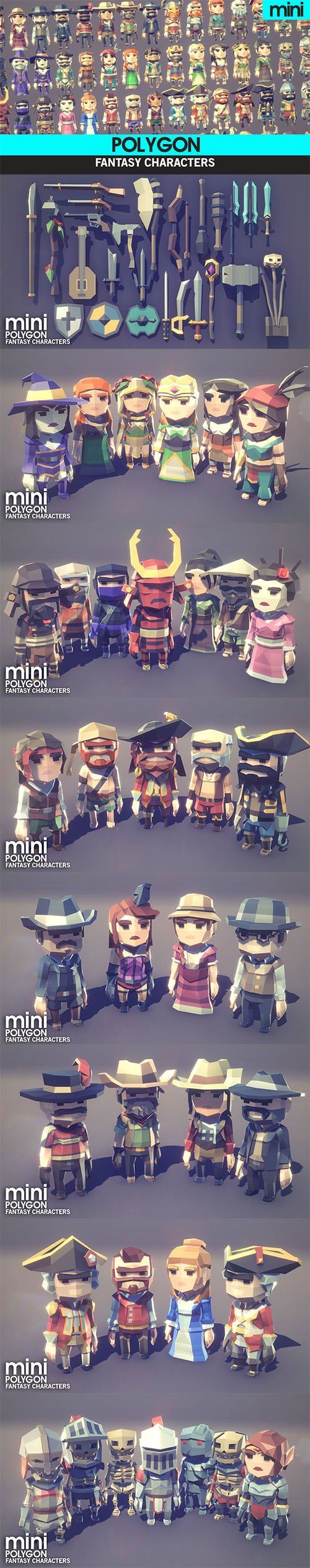 Fantasy Characters Pack Low-poly 3D model