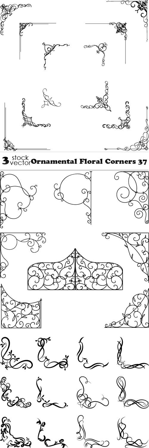 Vectors - Ornamental Floral Corners 37