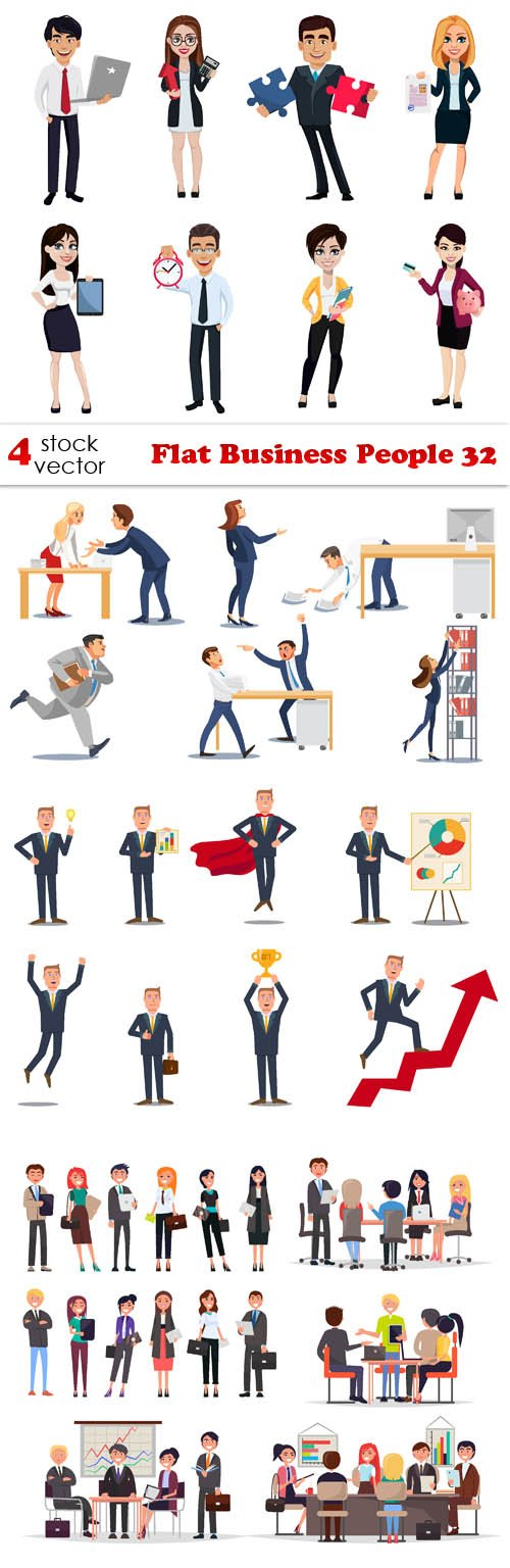 Vectors - Flat Business People 32