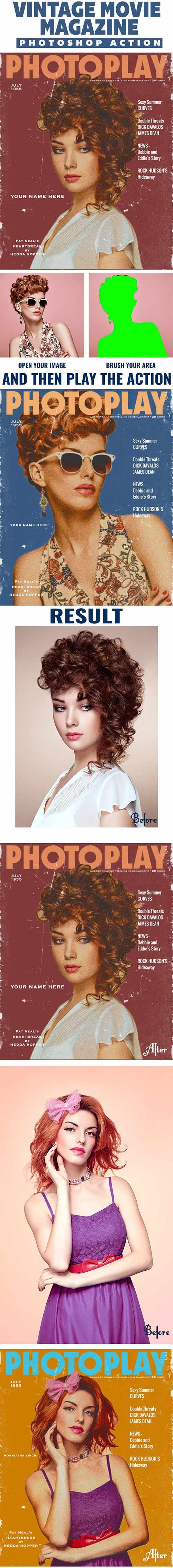 GraphicRiver - Vintage Movie Magazine Photoshop Action 23056477