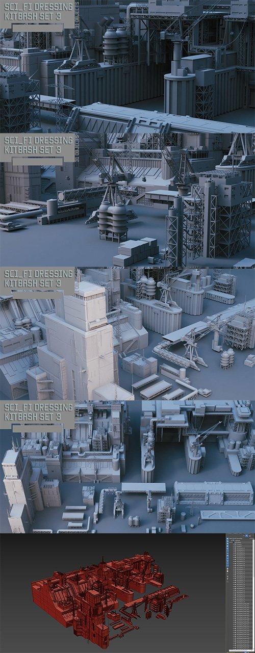 Scifi dressing kitbash set 3 Low-poly 3D model