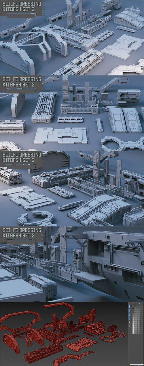 Scifi dressing kitbash set 2 Low-poly 3D model