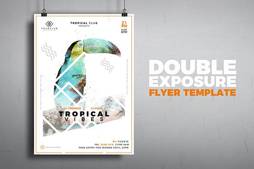 Tropical Double Exposure Poster PSD