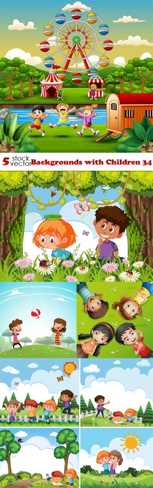 Vectors - Backgrounds with Children 34