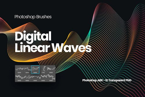 Digital Linear Waves Photoshop Brushes