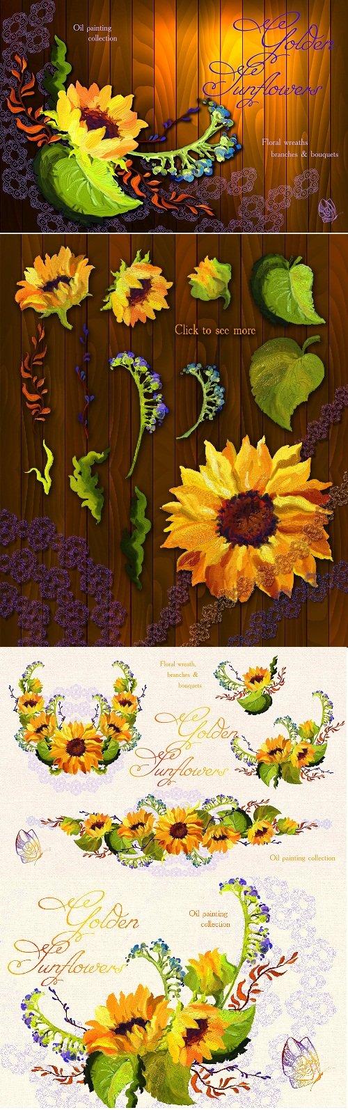 Golden Sunflower Oil Painting - 15710