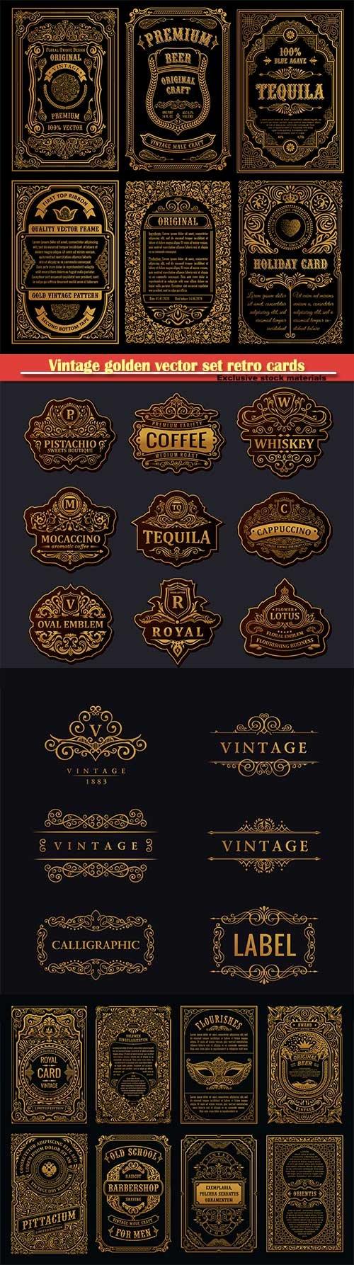 Vintage golden vector set retro cards, calligraphic frames, design label