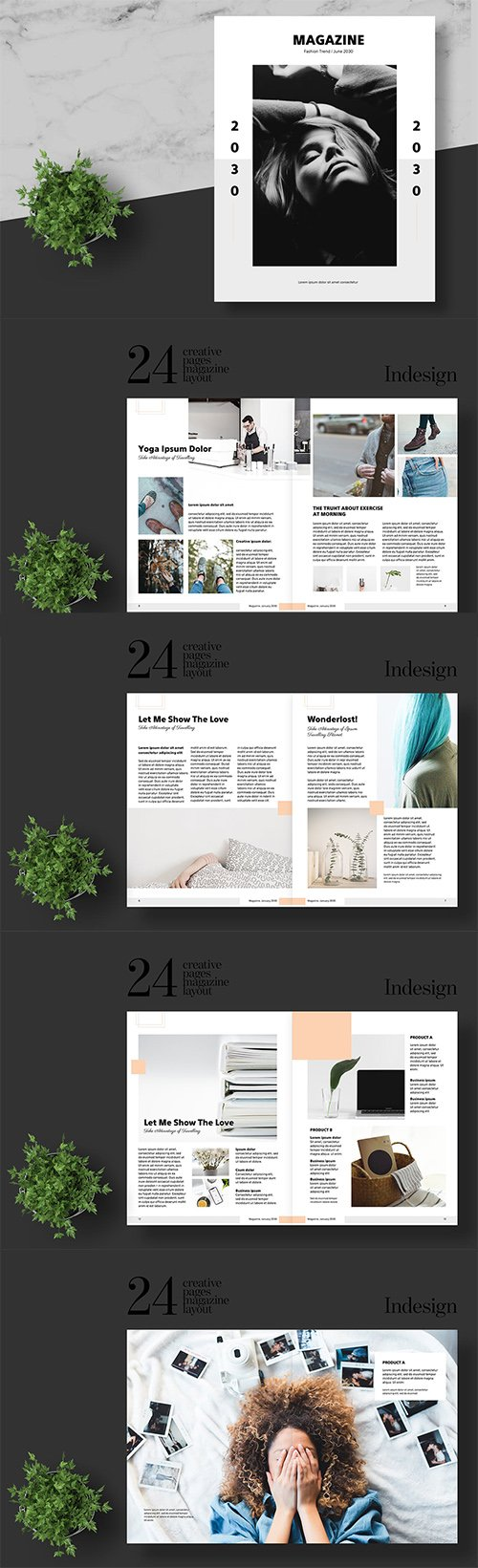 Clean and Minimal Fashion Magazine Template INDD