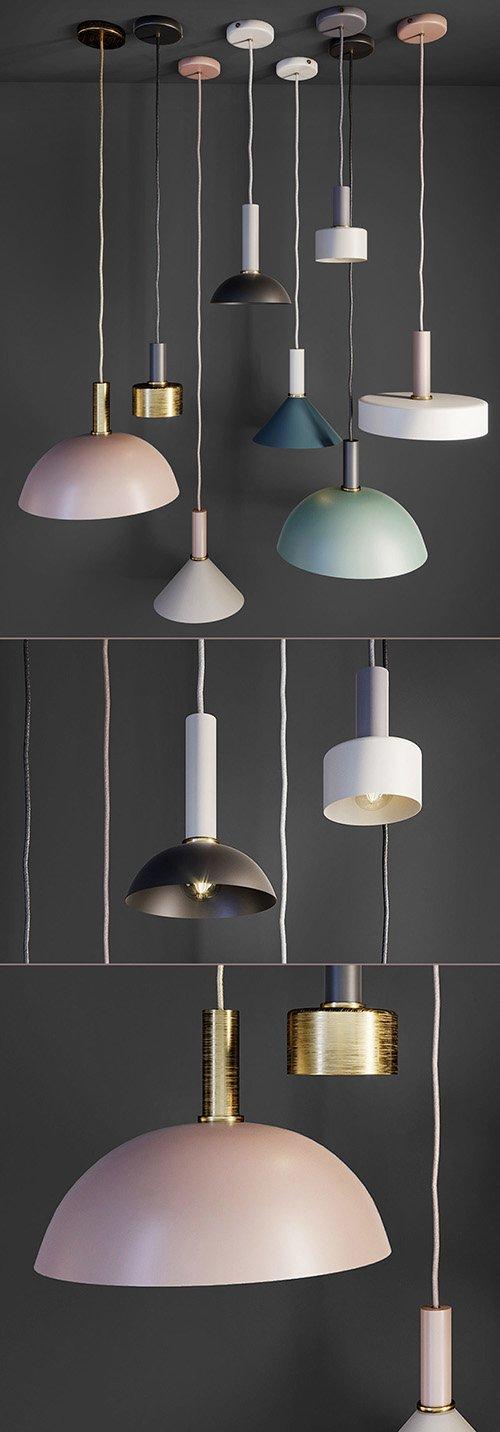 SUSPENDED SOCKET PENDANT HIGH DESIGN LAMP Low-poly 3D model