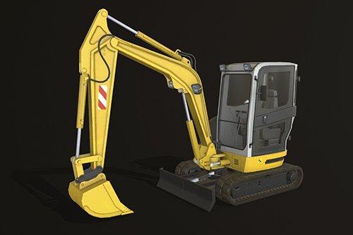 Mini Excavator 2 Low-poly 3D model