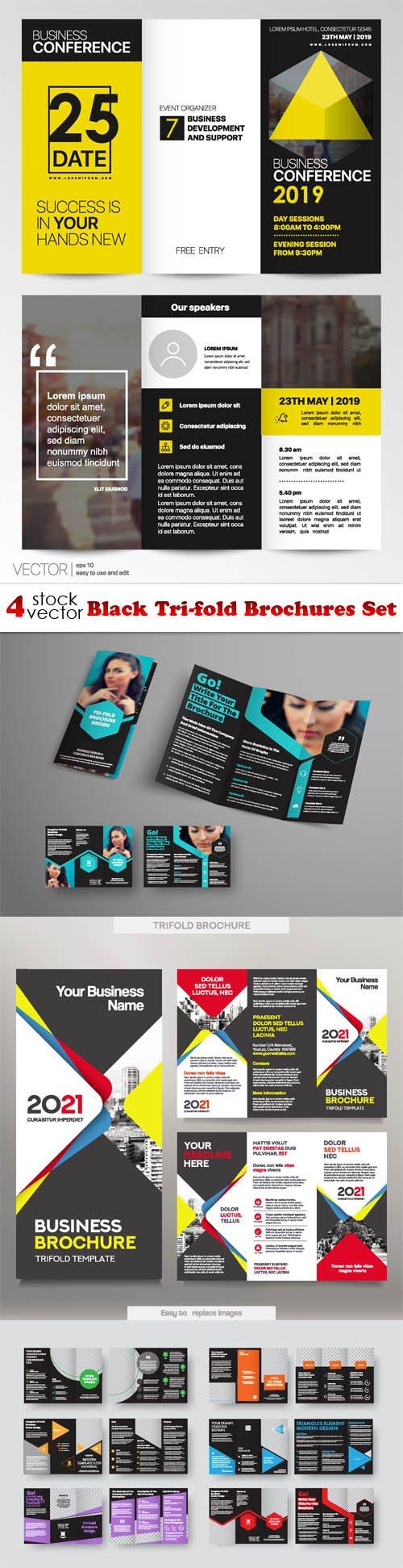 Vectors - Black Tri-fold Brochures Set