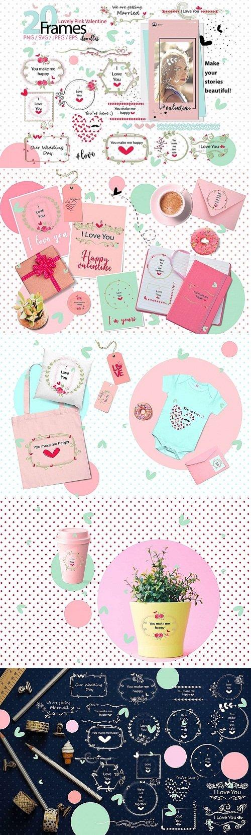 Lovely Pink Valentine Doodle frames - 209291