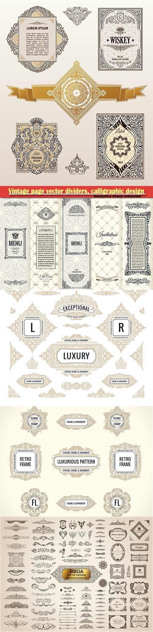 Vintage page vector dividers, calligraphic design logo set