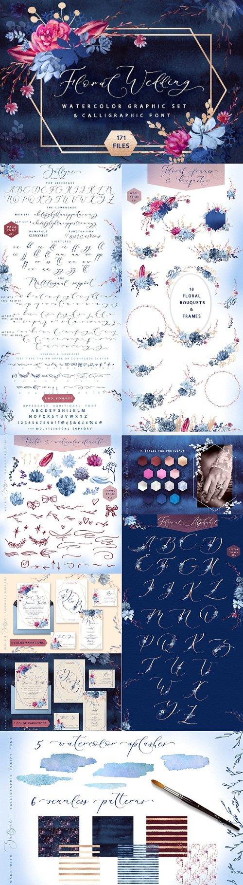 Floral wedding graphic & script font 3177012