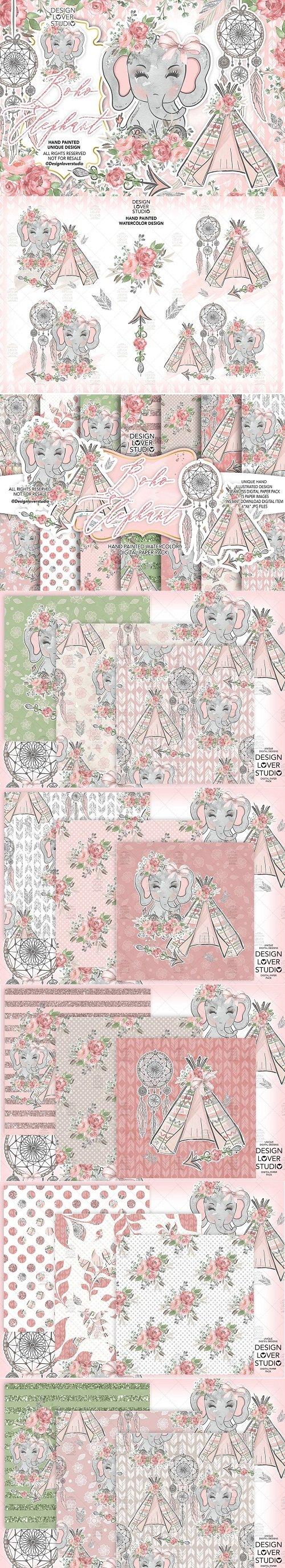 Boho Elephant Cute design + digital paper pack