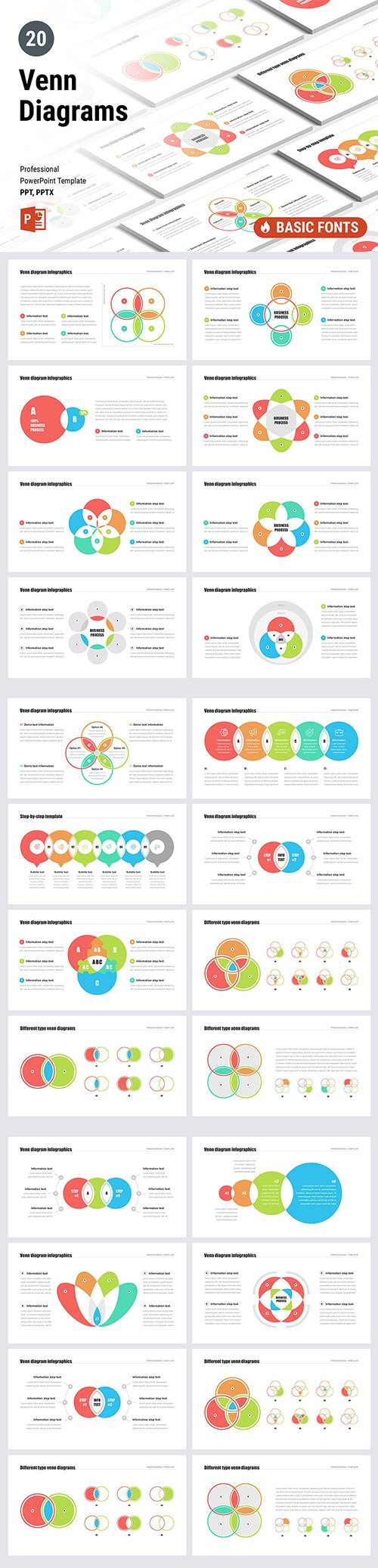 Venn Diagrams Pack for Powerpoint, Keynote and Google Slides Template