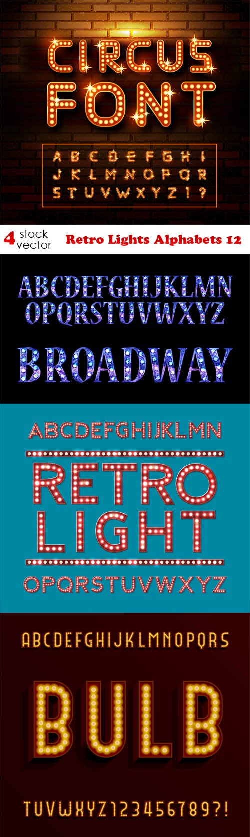 Vectors - Retro Lights Alphabets 12