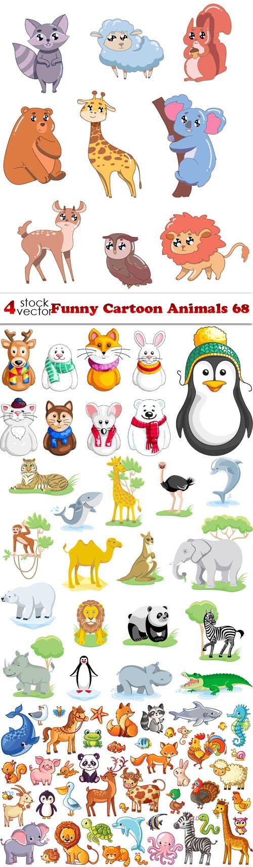 Vectors - Funny Cartoon Animals 68