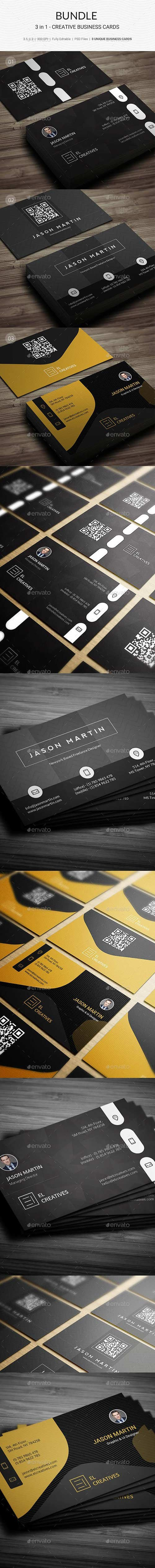 GraphicRiver Bundle 3 in 1 Creative Business Cards 180 21943110
