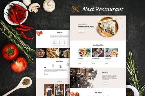 Restaurant Online Reservation & Menu PSD Template
