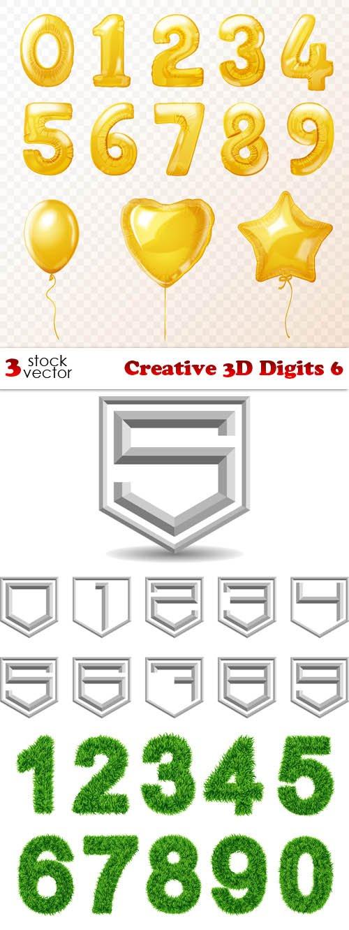 Vectors - Creative 3D Digits 6