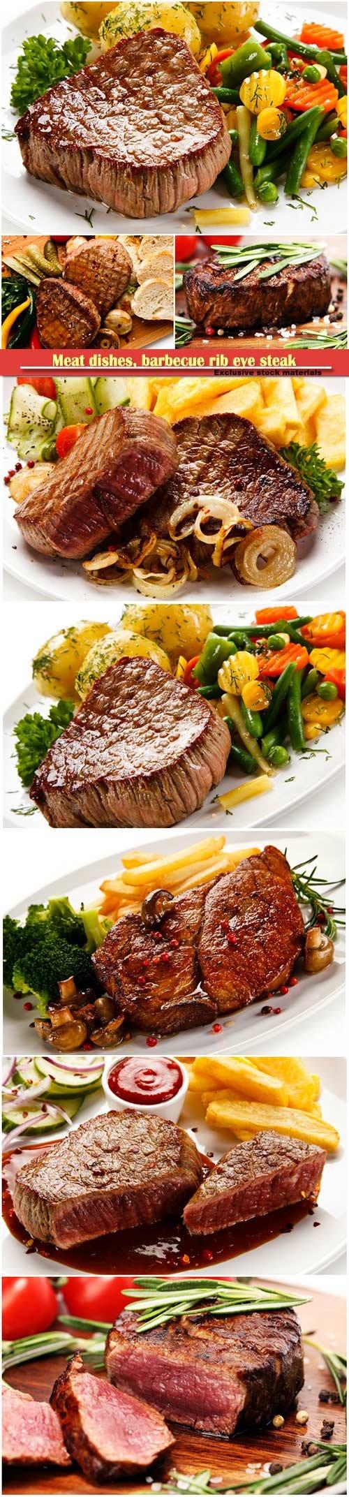 Meat dishes, barbecue rib eye steak, tenderloin filet mignon