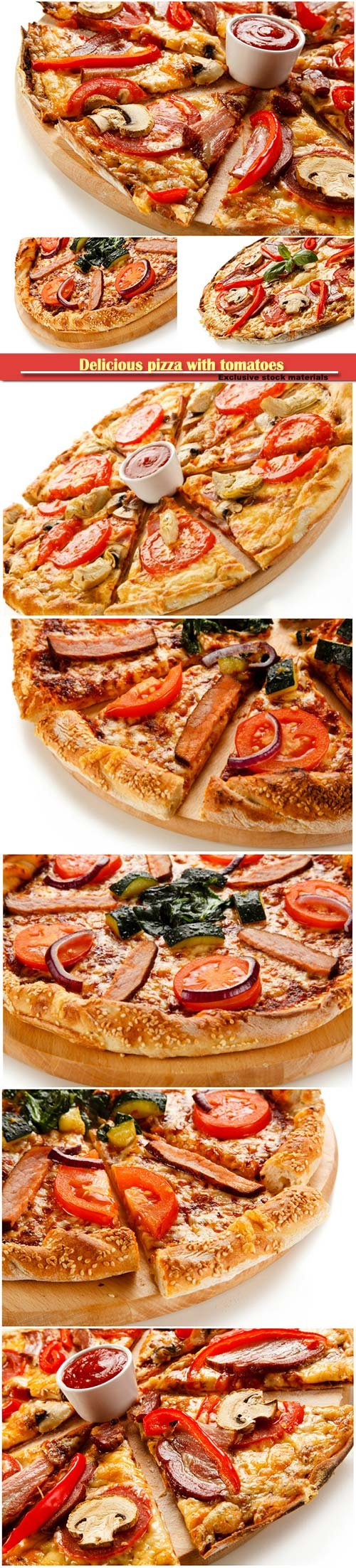 Delicious pizza with tomatoes, peppers and mushrooms