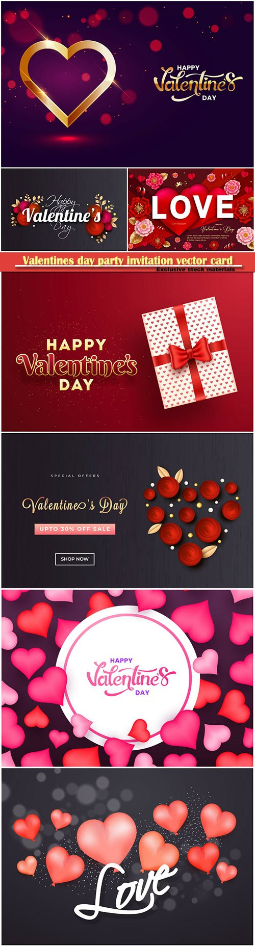 Valentines day party invitation vector card # 40