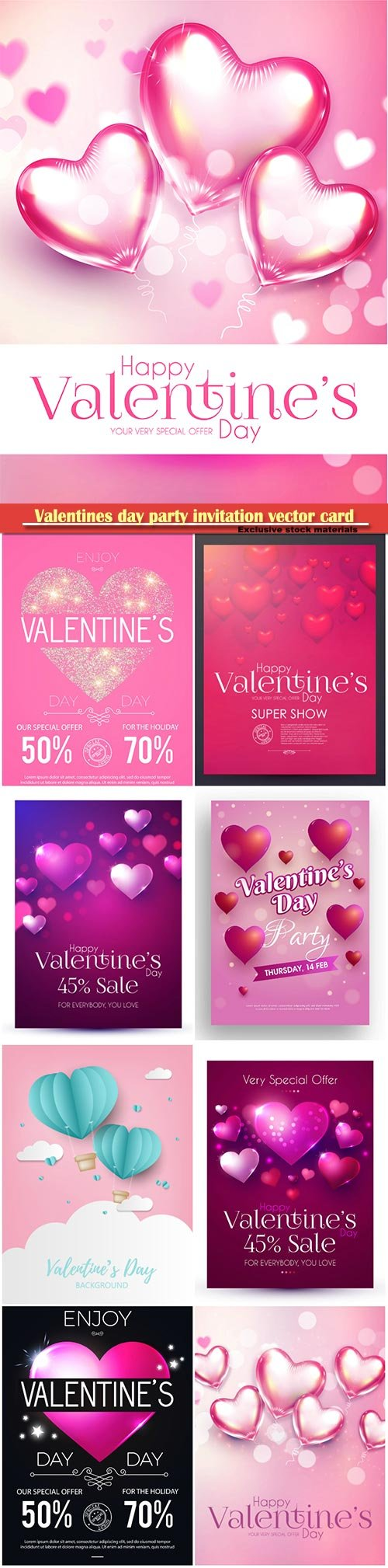 Valentines day party invitation vector card # 43