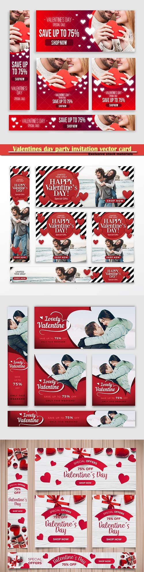 Valentines day party invitation vector card # 50