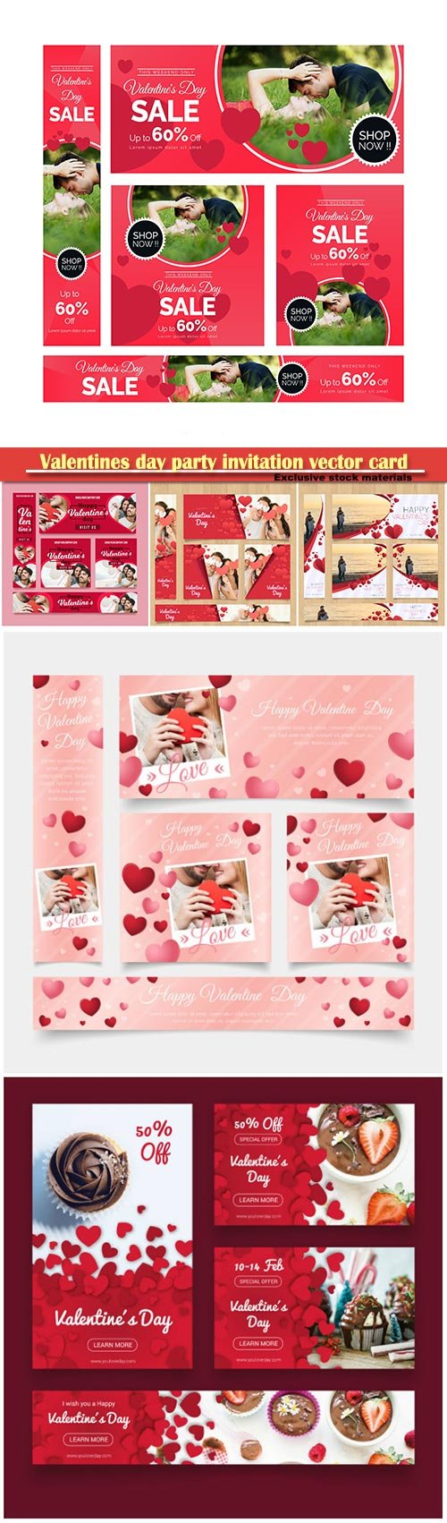 Valentines day party invitation vector card # 55