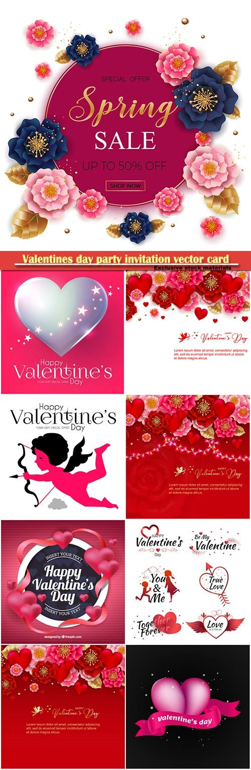 Valentines day party invitation vector card # 44