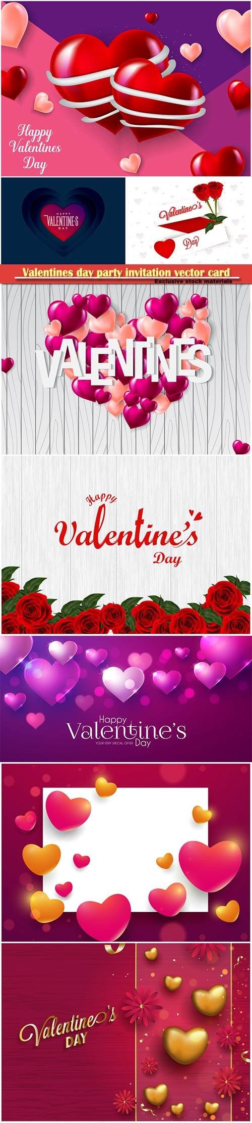 Valentines day party invitation vector card # 45
