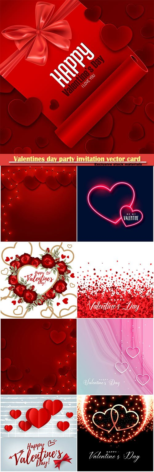 Valentines day party invitation vector card # 47