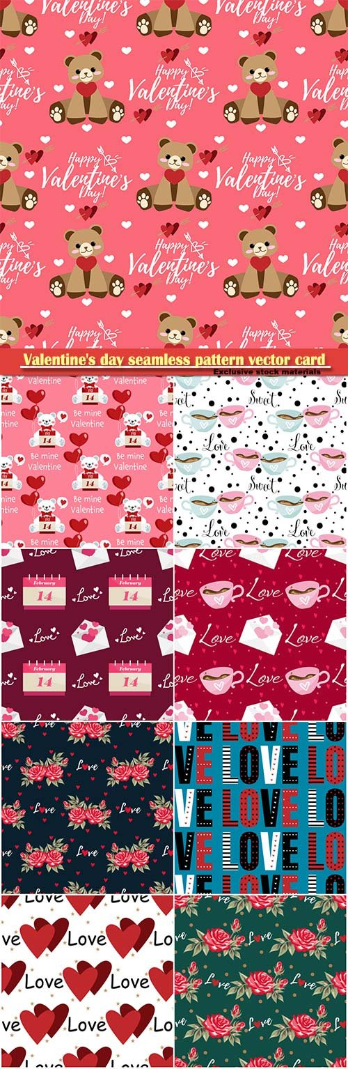 Valentine's day seamless pattern vector card