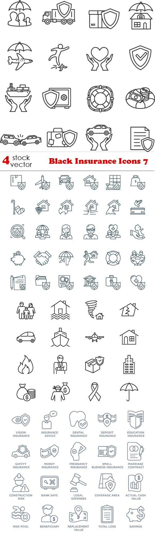 Vectors - Black Insurance Icons 7