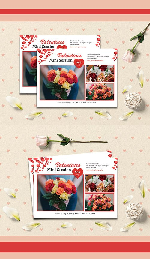 Valentine's Day Photography Session Flyer Layout 245412183