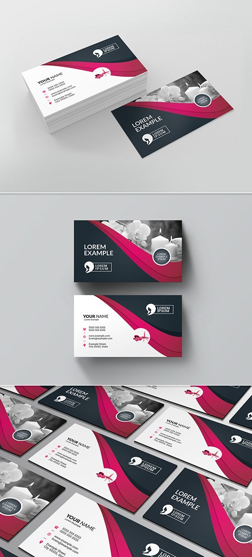 PSDT Business Card Layout with Pink Ribbon Design 225588324