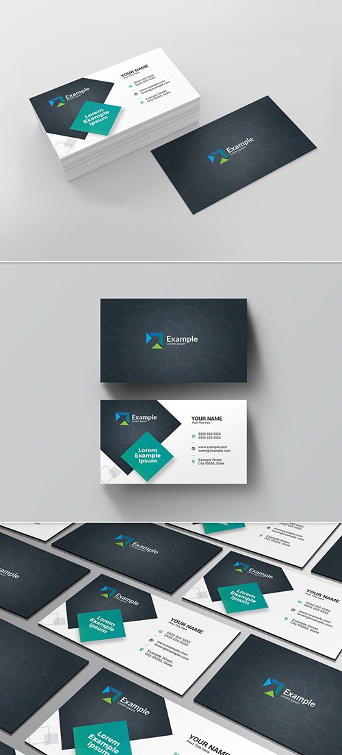 PSDT Black and White Business Card Layout with Teal Accents 225588391