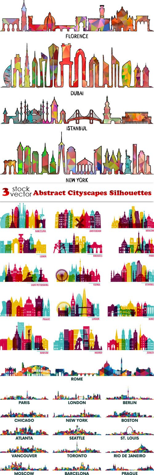 Vectors - Abstract Cityscapes Silhouettes