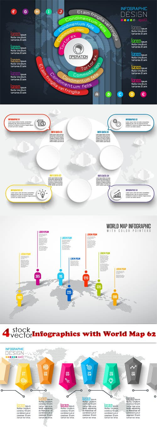 Vectors - Infographics with World Map 62
