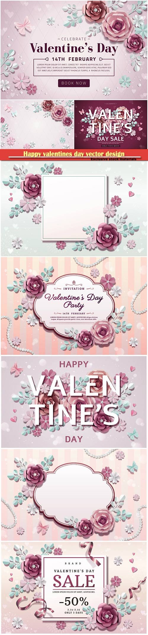 Happy valentines day vector design with heart, balloons, roses in 3d illustration # 6