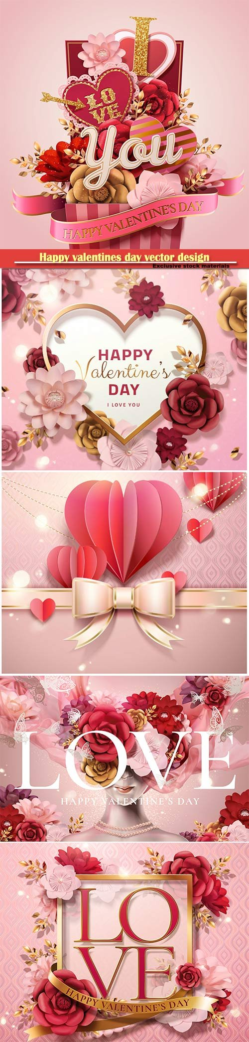 Happy valentines day vector design with heart, balloons, roses in 3d illustration # 4