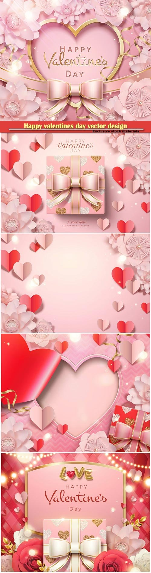 Happy valentines day vector design with heart, balloons, roses in 3d illustration # 5