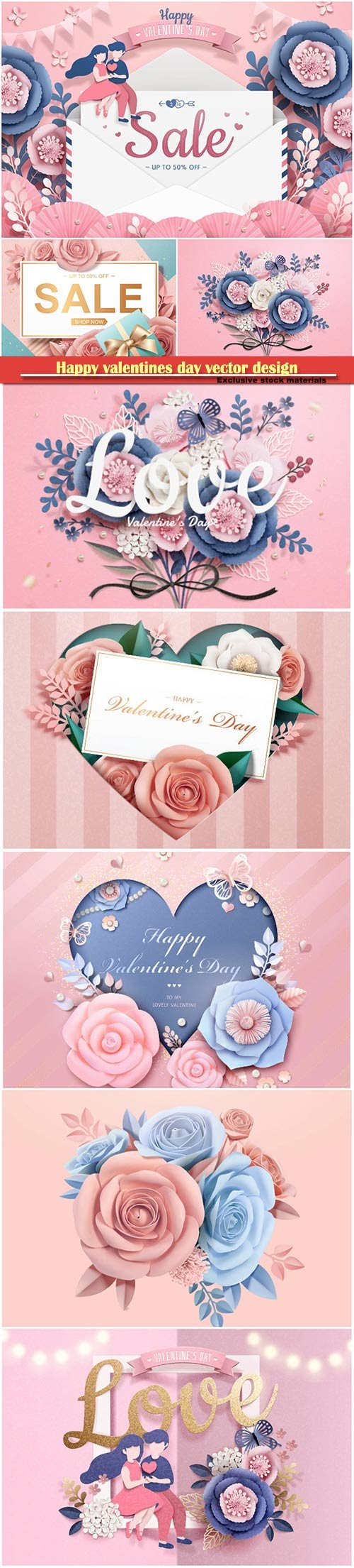 Happy valentines day vector design with heart, balloons, roses in 3d illustration # 8