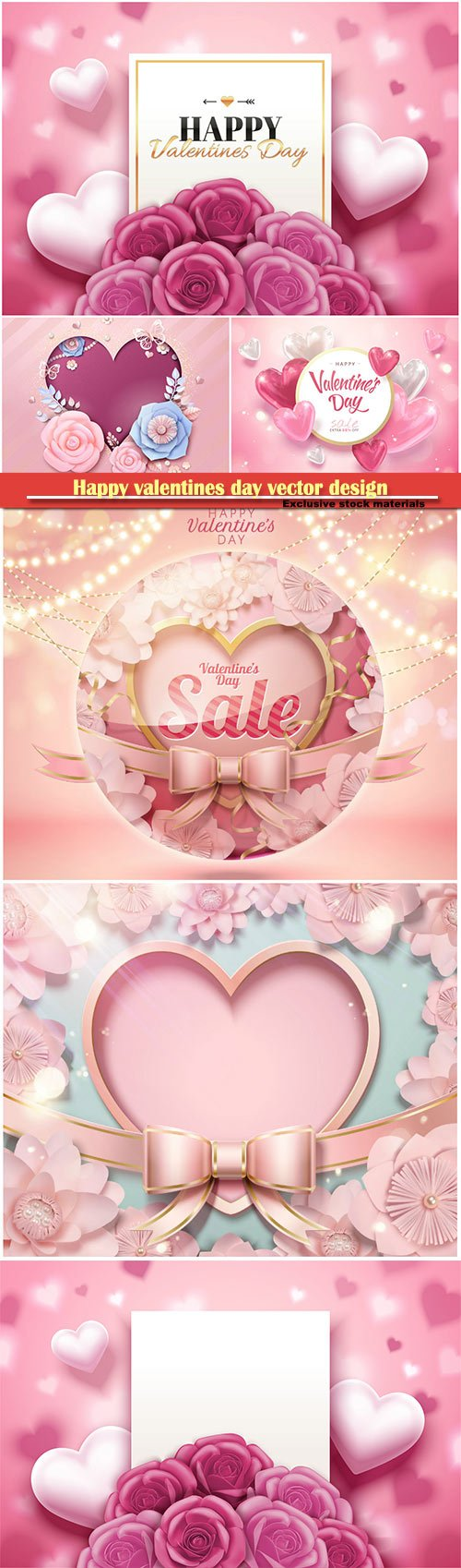 Happy valentines day vector design with heart, balloons, roses in 3d illustration # 9