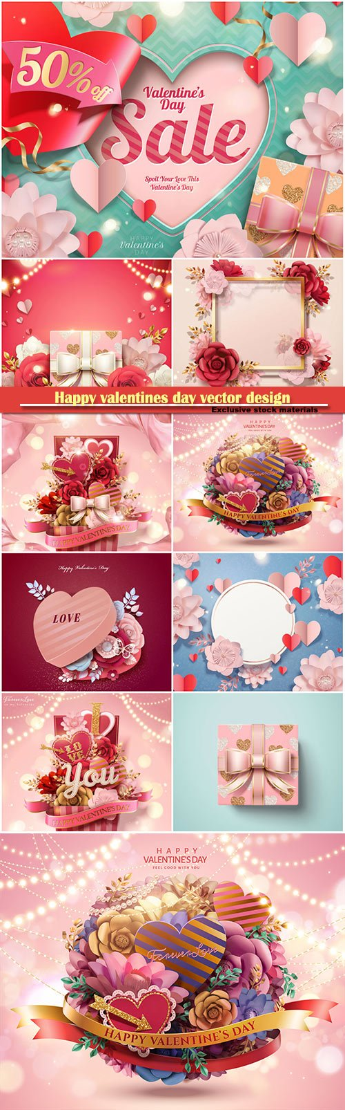 Happy valentines day vector design with heart, balloons, roses in 3d illustration # 10